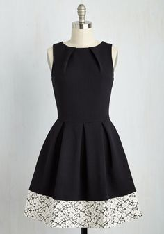 Luck Be a Lady A-Line Dress in Black and Lace. If youve been searching for a charming new frock, then youre in luck! #black #modcloth