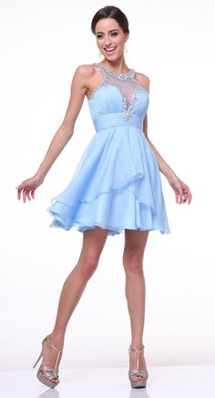 80237ad2d75 CD969 Short A-Line Party Dress with High Beaded Neckline - alwaysprom.com. Wholesale  Prom DressesShort ...