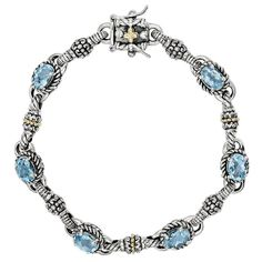 Versil Shey Couture Sterling Silver and 14k Gold 5 3/4 Swiss Blue Topaz 7.25-inch Bracelet (Sterling Silver), Women's, Size: 7.25 Inch (solid)