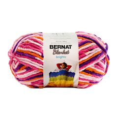 Bernat Blanket Brights is a soft and cozy chenille-style yarn, in an energetic range of bright shades. Great for a variety of projects, from plush blankets, to crochet baskets, and home decor accessories. Bernat Baby Yarn, Bernat Baby Blanket, Blanket Yarn, Knitted Baby Blankets, Plush Blankets, Knitting Gauge, Loom Knitting, Yarn Color Combinations, Yarn Colors