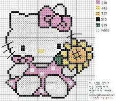 Hello Kitty  & bouquet de fleurs