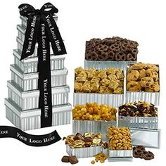 """""""Your Name Here"""" Corporate Sweets Tower - 24 Minimum Quantity Visa Gift Card, Online Gift Cards, Corporate Gifts, Corporate Events, Employee Gifts, Gift Certificates, Gift List, Ribbon Colors, Manualidades"""