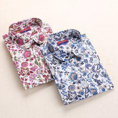 Freiheit! Floral Frauen Shirts Langarm-shirt Frauen Tops Baumwolle Blusas Femininas drehen-unten Kragen Beiläufige Bluse Damen-oberteile