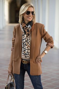 Starting Fall With A Beautiful Color Palette with our chestnut blazer mocha jersey top leopard scarf all of which you can wear to the office or any outing Blazer Fashion, Fall Fashion Outfits, Casual Fall Outfits, Look Fashion, Autumn Fashion, Blazer Outfits, Emo Outfits, Lolita Fashion, Over 60 Fashion