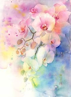 Yoko Harusaki Gallery of New Site 2 Abstract Flowers, Abstract Watercolor, Watercolor Illustration, Watercolour Painting, Watercolor Flowers, Watercolors, Orchids Painting, Botanical Art, Flower Art