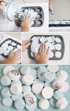 35 Easy DIY Gift Ideas People Actually Want -- easy bath bombs using a muffin pan! 35 Easy DIY Gift Ideas People Actually Want -- easy bath bombs using a muffin pan! Diy Lush, Diy Cadeau Noel, Homemade Bath Bombs, Homemade Soaps, Homemade Body Scrubs, Diy Bath Bombs Easy, Making Bath Bombs, Homemade Products, Diy Simple