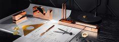 London brand Tom Dixon launched a line of copper stationery including a stapler, tape dispenser, desk tidy and a pen. Tom Dixon, Cubes, Cube Desk, Desk Set, Home Office Accessories, Copper Accessories, Toms, Desk Tidy, Desk Office