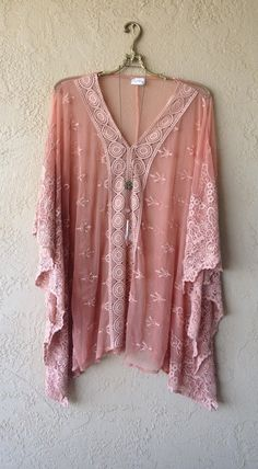 Image of Free people Coral Beach gypsy kaftan with embroidery details