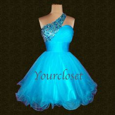 Amazing beading tulle short prom dress - blue from Your Closet #coniefox #2016prom