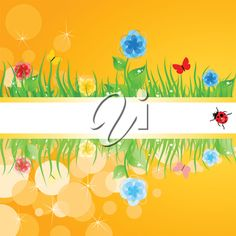 iCLIPART - Clip Art Illustration of Green Grass with Flowers