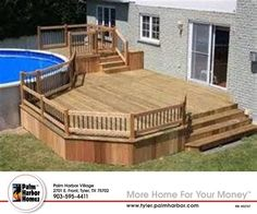Are you think of how to enhanced your pool area with pool deck ideas? I have here how to enhance your pool area with a pool deck ideas you will love. Above Ground Pool Decks, In Ground Pools, Remodeling Mobile Homes, Home Remodeling, Bathroom Remodeling, Mobile Home Renovations, Mobile Home Deck, Mobile Home Landscaping, Decks For Mobile Homes