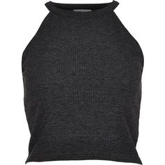 River Island Dark grey high neck ribbed crop top ($7.48) ❤ liked on Polyvore featuring tops, crop tops, shirts, tank tops, grey, sale, high neck tank, grey tank top, gray shirt and ribbed shirt