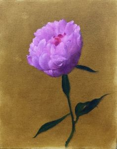 Single Peony, painting by artist Jonathan Aller