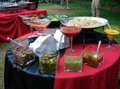 you could do a taco/nacho bar similar to this with different salsas and toppings arranged on the table for people to make their own Best Party Food, Party Food And Drinks, Pizza Appetizers, Appetizers For Party, Mashed Potato Bar, Baked Potato, Mashed Potatoes, Martini, Fall Birthday Parties
