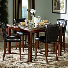 @Overstock - Invigorate your dining space with this five-piece counter height dining set that works just as well in a modern environment as it does in a traditional one. A faux marble top is stunning, while the tufted leather chair backs evoke a classic feel.http://www.overstock.com/Home-Garden/Hutton-5-piece-Faux-Marble-Top-Counter-Height-Dining-Set/4225075/product.html?CID=214117 $739.99