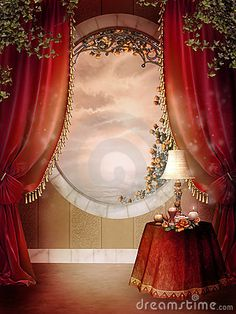 Illustration about Victorian bedroom with red curtains and green ivy. Illustration of window, background, yellow - 18667267