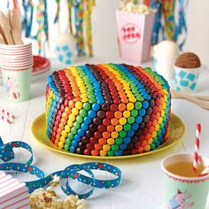 Rainbow Teacake with Vanilla Frosting and M&Ms | Recipe