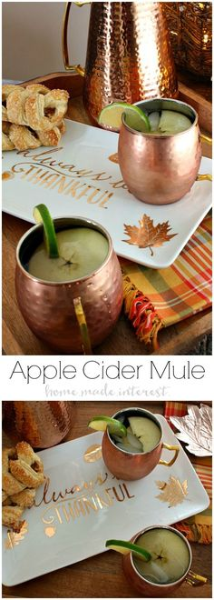 This Apple Cider Mule is going to be your favorite fall drink recipe! Apple Cide… This Apple Cider Mule is going to be your favorite fall drink recipe! Apple Cider, vodka and ginger beer combined to make a fall flavored moscow mule. Need a Halloween party Fall Cocktails, Cocktail Drinks, Cocktail Recipes, Alcoholic Drinks, Beverages, Cocktail Ideas, Fall Drinks Alcohol, Cider Cocktails, Brunch Drinks