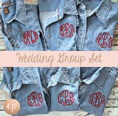 Monogram Denim Shirt | Bridesmaid Button Up | Monogrammed Shirt | Monogram Button Down | Bride Shirt | Bridal Party | Wedding Denim Shirt by CPMONOGRAMMING on Etsy https://www.etsy.com/listing/516222454/monogram-denim-shirt-bridesmaid-button