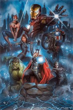 Marvel Live Painting done for the limited edition print for the Marvel Live show. Acrylic paint and oil pencils on Arches watercolour board. Art is 22.5 x 15 inches.