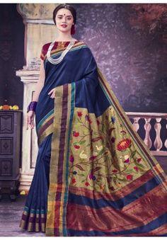 Navy Blue Bhagalpuri Saree With Blouse 121063 Sarees Online India, Silk Sarees Online, Sari Shop, Online Shopping Usa, Latest Indian Saree, Art Silk Sarees, Online Collections, Party Wear Sarees, Saree Collection