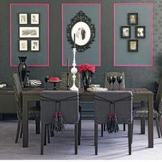 Contemporary Pink and Gray Dining Room Decoration Ideas