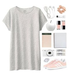 Just Peachy by amazing-abby on Polyvore featuring Uniqlo, adidas Originals, Marc by Marc Jacobs, Topshop, Toast, Bobbi Brown Cosmetics, Rifle Paper Co and CB2