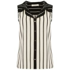 Oasis Stripe Frill Shirt, Black (£27) ❤ liked on Polyvore featuring tops, ruffle sleeve top, v-neck shirt, sleeveless shirts, sleeveless button-down shirts and no sleeve shirt