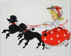 #2 50s Pretty Girl & Black Poodle Dogs, Vintage Christmas Note Card-Greeting