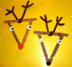 Reindeer Ornaments  Mom to 2 Posh Lil Divas: 5 Homemade Craft Stick Christmas Ornaments for Kids