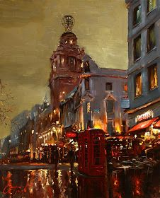 Evening in London, Oleg Trofimoff. I love how the buildings come off the page