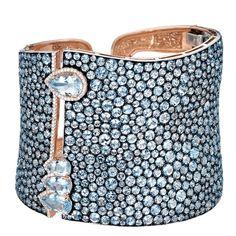 Best Diamond Bracelets : Stunning Blue Topaz Aquamarine Silver Gold Cuff Bracelet by Hamilton, United States Gold And Silver Bracelets, Sterling Silver Bracelets, Silver Cuff, Gold Bangles, Diamond Bracelets, Bangle Bracelets, Aquamarine Jewelry, Topaz Jewelry, Silver Jewellery