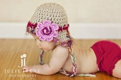 Baby Girl Hat  Beige Crochet Hat with Ear Flaps with by mybabyhats, $23.00