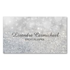 Silver Bokeh Sparkle Event Planner Business Cards.