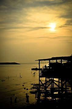 The Stilt House and Sunset by Dennis Sim - Landscapes Sunsets & Sunrises ( lantau island, hong kong, tai o, sunset, stilt house )
