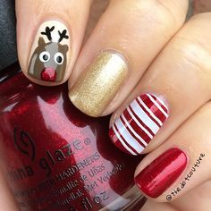 Festive nail art - simple freehand and stamping create a festively delightful look.  @opi_products: A-Taupe The Space Needle (brown) Love.Angel.Music.Baby (gold) My Vampire is Buff (off-White)  @chinaglazeofficial: Ruby Pumps (sparkly red) White on White (white detail on reindeer) Liquid Leather (black detail on reindeer)  #Konad Princess Polish