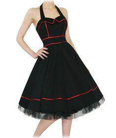 H & R london Black Halter Dress Swing 50's pinup Vintage  Punk Tulle 6851  #HRLondonHeartsandRosesDress #partyvintagestylevtgpinuprockabillyretro #Casual