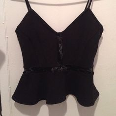 Mesh Detailed Peplum Tank Peplum tank top from H&M with mesh detail. Never been worn! H&M Tops Tank Tops