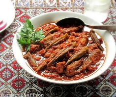 This stew is a perfect combination of fresh okra and tender eggplants simmering in a luscious tomato sauce along with browned lamb cubes....