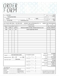 general photography sales order form template available