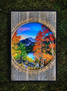 A beautiful piece created on reclaimed wood. With small detail carved out in the wood to draw your eyes more into the center of a beautiful fall scene in the mountains. This piece measures at Ships within business days. Pallet Painting, Pallet Art, Painting On Wood, Wood Projects, Woodworking Projects, Painted Boards, Wood Plaques, Wood Creations, Bushcraft
