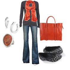 Love the tangerine and grey & denim
