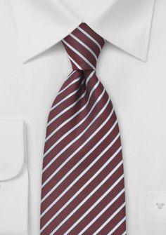 Streifendesign-Krawatte weinrot silbergrau