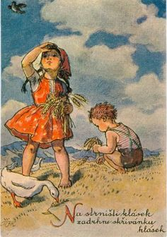 Marie Kvěchová-Fischerová Gif Animé, Children's Book Illustration, Vintage Pictures, Antique Art, Hobbies And Crafts, Vintage Paper, Vintage Postcards, Vintage Children, Cute Drawings