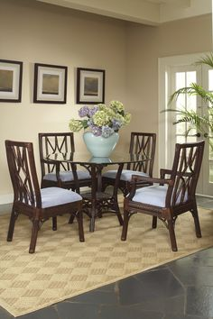 Dining Set by Braxton Culler - American Rattan Furniture - Wicker Dining Set, Dining Arm Chair, Dining Table, Dining Sets, Rattan Furniture, Custom Furniture, Outdoor Furniture Sets, Outdoor Decor, Tropical Furniture