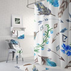 Your place to buy and sell all things handmade Boho, Curtains, Boho Feathers, Printed Shower Curtain, Home, Shower Curtain Sets, Curtain Call, Stuff To Buy