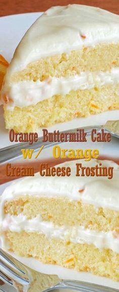 Orange Buttermilk Cake with Orange Cream Cheese Frosting - Orangen Kuchen Oreo Dessert, Brownie Desserts, Coconut Dessert, Mini Desserts, Just Desserts, Delicious Desserts, Yummy Food, Baking Recipes, Cake Recipes