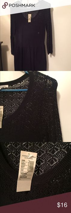 NWT! Navy knit dress! NWT! Navy knit three fourth sleeve dress from American Eagle! American Eagle Outfitters Dresses Midi