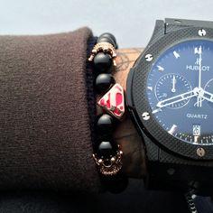 Superman Charms Bracelet Men 8mm Natural Agate Stone Bead Bracelet With Crown CZ Charm Bracelet Pulseira Masculina Bangles