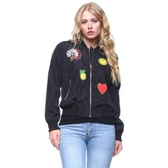 Smiley Patch Bomber Jacket in Black ($35) ❤ liked on Polyvore featuring outerwear, jackets, zip up jackets, lightweight jacket, patch pocket jacket, bomber style jacket and bomber jacket